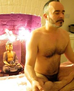 Andy, your naturist massage therapist, meditating